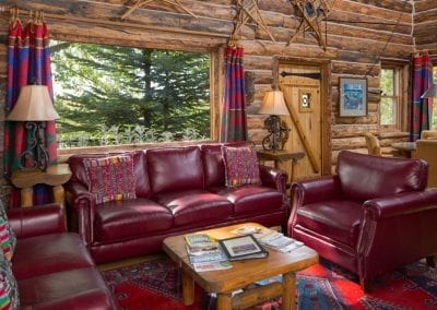 Gorgeous cabin at Blue Lake Ranch. Hotel photography by Bill Mitchell Marketing.