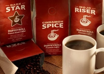 Duffeyroll coffee branding photography.