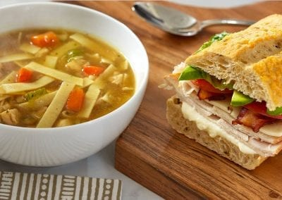 Soup and sandwich food photography.