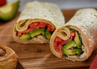 Duffeyroll turkey wrap. Restaurant photography.