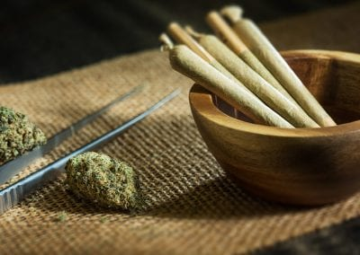 Digital 303 Cannabis Photography: Bud Joints In Wooden Bowl