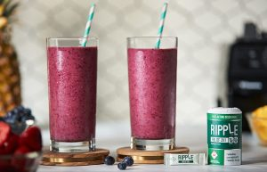 Ripple edibles smoothie picture in glasses. Oasis Superstore
