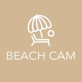 Beach Cam link with tan background and white beach chair and umbrella icon