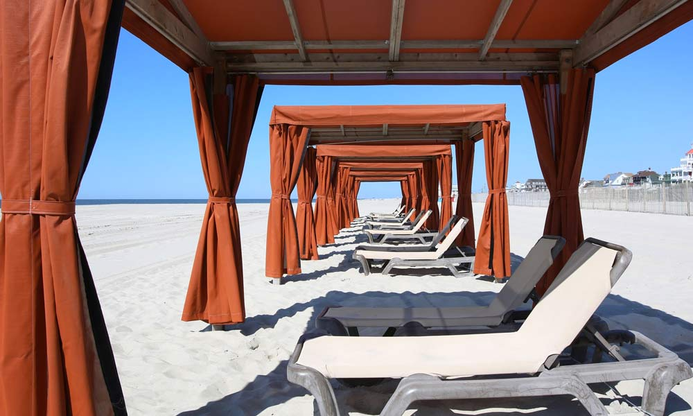 Montreal beach resort cabanas with lounge chairs