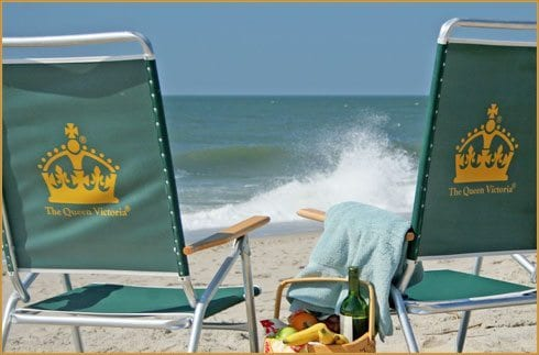 Cape May Bed and Breakfast- Queen Victoria, pictures of chairs on beach.