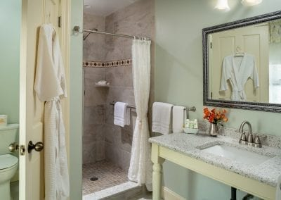 Covent Garden Suite Bathroom with Step In Shower, Granite Vanity and Water Closet