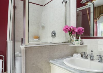 Crown Prince Guestroom Second Bathroom with Step-in shower and marble top sink counter