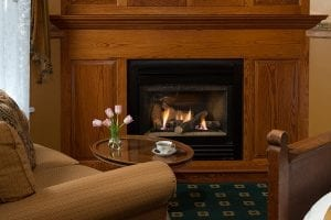 Kew Garden Room Fireplace - Cape May Accommodations