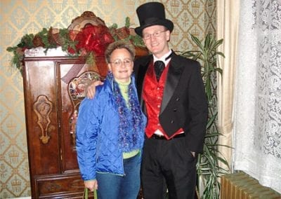 Doug McMain in regal Victorian attire. With top hat.