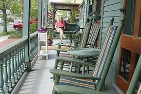 Guest Photos- Chairs on porch at Queen Victoria Cape May