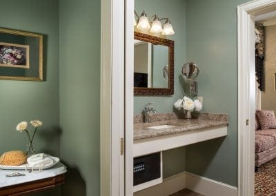 Lord Melbourne Guestroom Granite Vanity Counter with Room Safe Underneath